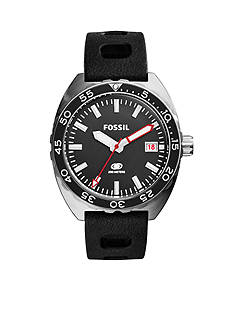 Fossil Breaker Three-Hand Date Black Silicone Watch