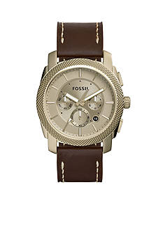 Fossil Men's Machine Brown Leather Strap Chronograph Watch