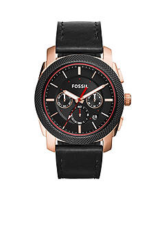 Fossil Men's Machine Black Leather Chronograph Watch
