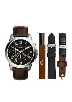 Fossil Men's Grant Leather Strap Watch Boxed Set