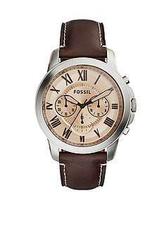 Fossil Men's Grant Brown Leather Strap Chronograph Watch