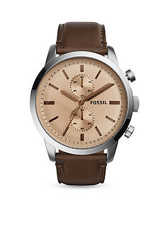 Fossil Men's Townsman Stainless Steel Brown Leather Chronograph Watch