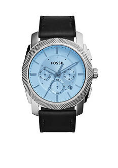 Fossil Men's Machine Black Leather Strap Chronograph Watch