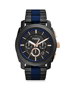 Fossil Men's Machine Black Stainless Steel and Blue Silicone Bracelet Chronograph Watch