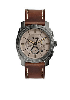 Fossil Men's Machine Brown Leather Watch