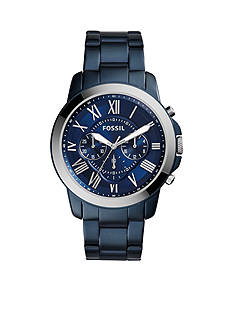 Fossil Men's Grant Blue-Tone Stainless Steel Watch