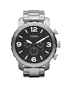 Fossil Mens Silver Tone Stainless Steel Gage Chronograph Watch