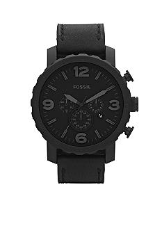 Fossil Nate Stainless Steel and Leather Watch-Black