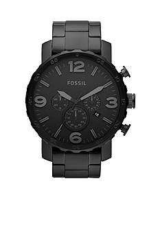 Fossil Men's Black Stainless Steel Chronograph Nate Watch