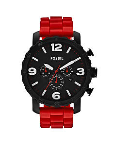Fossil® Men's Nate Red Silicone and Black Stainless Steel Chronograph Watch