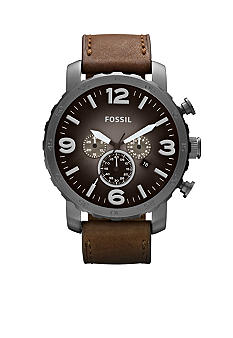 Fossil® Men's Nate Brown Leather and Gunmetal Stainless Steel Chronograph Watch