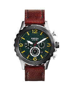 Fossil® Men's Brown Leather Nate Chronograph Watch