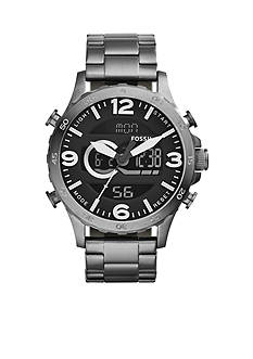 Fossil Men's Nate Analog-Digital Smoke Stainless Steel Watch