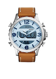 Fossil Men's Nate Analog-Digital Brown Leather Watch