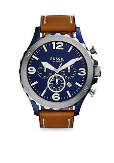 Fossil Men's Nate Brown Leather Strap Chronograph Watch