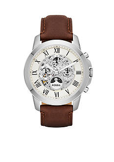 Fossil Men's Grant Automatic Brown Leather Watch