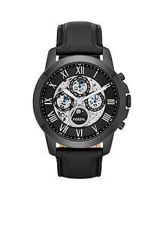 Fossil Grant Automatic Black Leather Watch