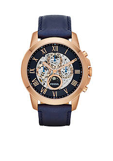 Fossil Grant Three-Hand Automatic Navy Leather Watch