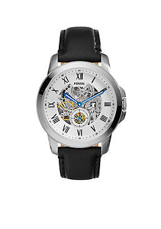 Fossil Men's Black Leather Grant Mechanical Automatic Watch