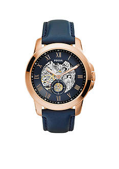 Fossil Men's Blue Leather Grant Mechanical Automatic Watch