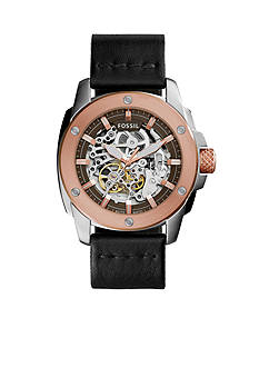 Fossil Modern Machine Black Leather Strap Automatic Watch