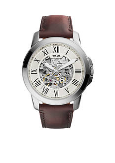 Fossil Men's Grant Brown Leather Automatic Watch