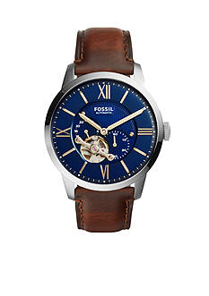 Fossil Men's Townsman Brown Leather Automatic Watch