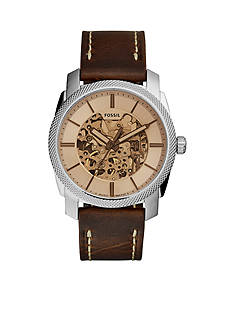 Fossil Men's Machine Brown Leather Automatic Watch