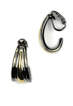 Anne Klein Tri-tone Clip Earrings