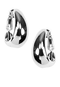 Anne Klein Silver Tone J Hoop Clip Earrings
