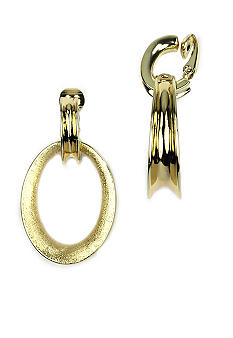 Anne Klein Gold Clip Doorknocker Earrings