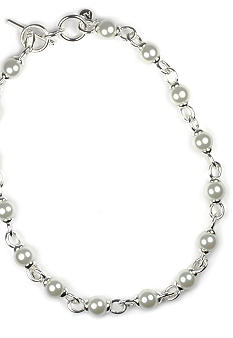 Anne Klein White Pearl and Silver Link Necklace
