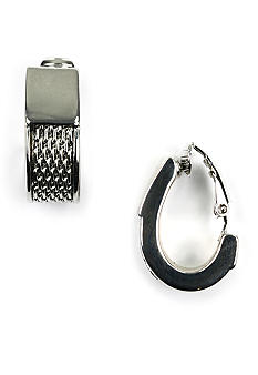Anne Klein Silver Tone Mesh Clip Earrings