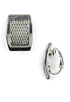 Anne Klein Silver Mesh Clip Earrings