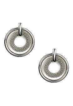 Anne Klein Silver Circle Mesh Earrings