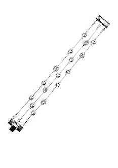 Anne Klein White Pearl and Crystal Fireball Bracelet