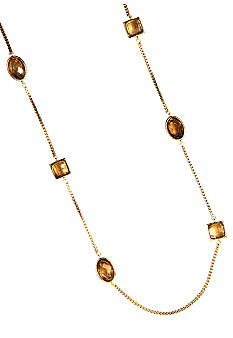 Anne Klein Long Topaz and Gold Chain Necklace