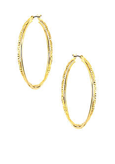 Anne Klein Medium Gold Twisted Hoop Earrings