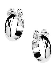 Anne Klein Silver Clip Hoop Earrings