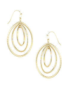 Anne Klein Gold Oval Drop Earrings