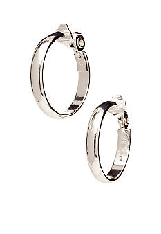 Anne Klein Large Silver Clip Hoop Earrings