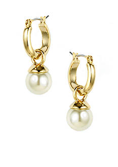 Anne Klein Gold Hoop Pearl Drop Earrings