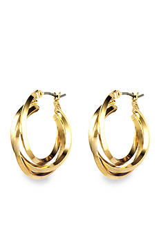 Anne Klein Gold Tone Three Ring Hoop Earrings