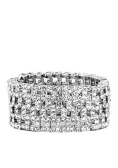 Anne Klein Wide Crystal Stretch Bracelet