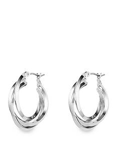 Anne Klein Silver Tone Three Ring Hoop Earrings