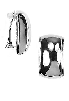 Anne Klein Silver Rectangle Clip Earring
