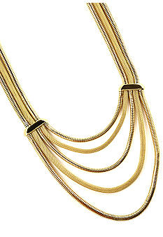 Anne Klein Multi Row Gold Frontal Necklace
