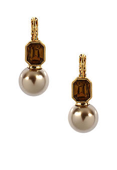 Anne Klein Champagne Pearl Drop Earrings
