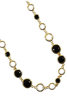 Anne Klein Jet and Crystal Strand Necklace
