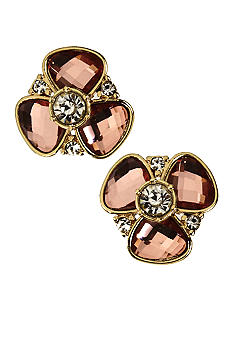 Anne Klein Rose Peach Flower Clip Earring